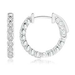 Toggle Floating Classic Diamond Inside Out Hoop Earrings
