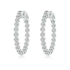 Rope Edged Four-Prong Diamond Inside Out Hoop Earrings