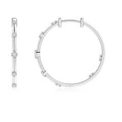 Toggle Round Diamond Hinged Hoop Earrings