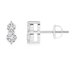 Classic Two Stone Diamond Earrings