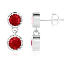 Dangling Two Stone Ruby Earrings