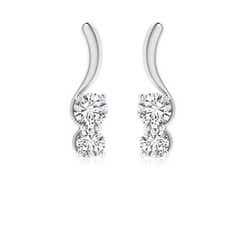 Two Stone Diamond Swirl Earrings