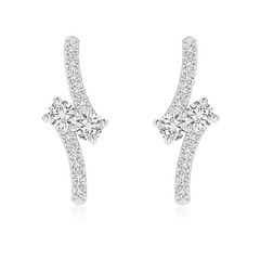 Bypass Classic Two Stone Diamond Earrings