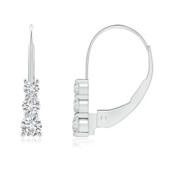 Round Diamond Three Stone Leverback Earrings