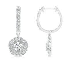 Vintage Inspired Hoop Dangling Diamond Floral Earrings