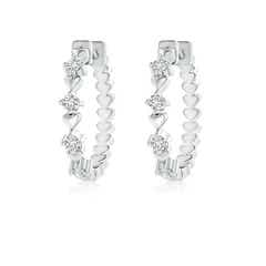 Round Diamond Hoop Earrings for Women with Heart Design