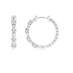 Toggle Round Diamond and Heart Motif Hoop Earrings