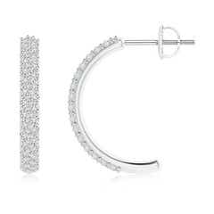 Round Small Diamond Hoop Earringswith Prong Setting