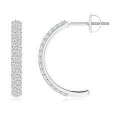 Angara Triple Round Diamond Halo J-Hoop Earrings vB0KV4Ucs