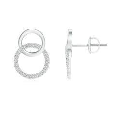 Diamond Studded Twin Open Circle Stud Earrings