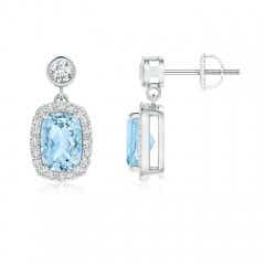 Cushion Aquamarine Dangle Earrings with Diamond Halo
