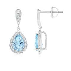 Pear Aquamarine with Diamond Halo Dangle Earrings
