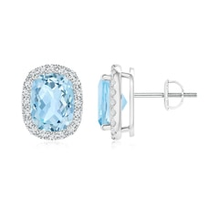 Cushion Aquamarine Stud Earrings with Diamond Halo