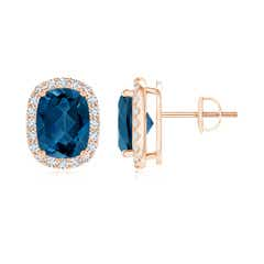 Cushion London Blue Topaz Stud Earrings with Diamond Halo