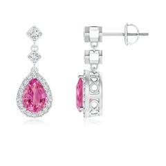 Pear Pink Sapphire Drop Earrings with Diamond Halo