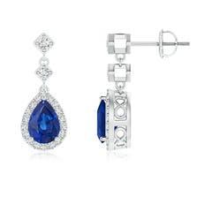 Diamond Halo Pear Blue Sapphire Teardrop Earrings