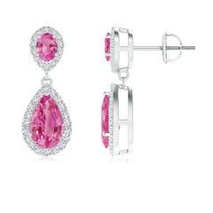 Oval & Pear Pink Sapphire Drop Earrings with Diamond Halo