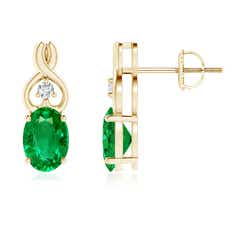 Oval Emerald Inverted Heart Earrings with Diamond
