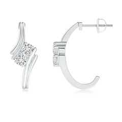 Two Stone Diamond Half Hoop Bypass Earrings