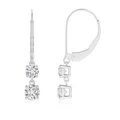 Double Diamond Leverback Dangle Earrings