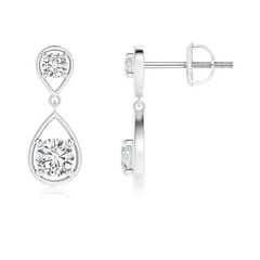 Two Stone Diamond Drop Earrings