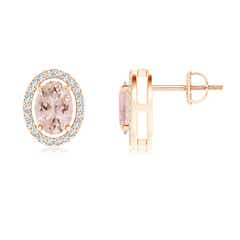 Floating Morganite Stud Earrings with Diamond Halo