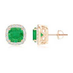 GIA Certified Colombian Cushion Emerald Halo Studs