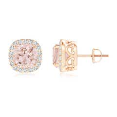 Cushion Morganite and Diamond Halo Stud Earrings with Scroll Motifs