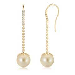Long Dangling Golden South Sea Cultured Pearl Earrings with Fish-Hook Diamonds