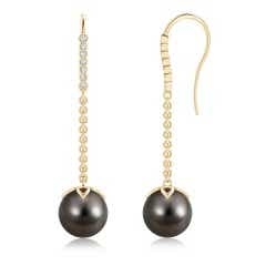 Long Dangling Tahitian Cultured Pearl Earrings with Fish-Hook Diamonds