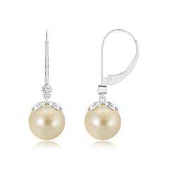 Ball Drop Golden South Sea Cultured Pearl Leverback Earrings with Diamond