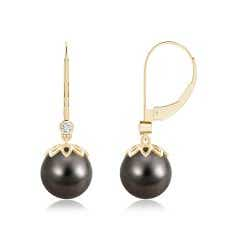 Tahitian Cultured Pearl Drop Earrings with Diamond