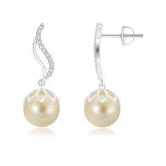 Solitaire Golden South Sea Cultured Pearl Drop Earrings with Diamond Flames