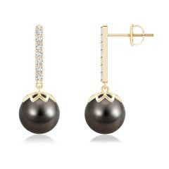 Solitaire Tahitian Cultured Pearl Dangle Earrings with Diamond Accented Bar