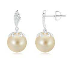 Solitaire Round Golden South Sea Cultured Pearl Dangling Earrings with Metal Wings