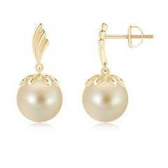 Angara South Sea Cultured Pearl Drop Earrings with Pear Motifs