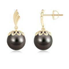Solitaire Round Tahitian Cultured Pearl Dangling Earrings with Metal Wings