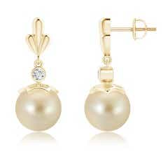 Dangling Golden South Sea Cultured Pearl and Diamond Earrings with Pear Motifs