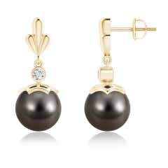 Dangling Tahitian Cultured Pearl and Diamond Earrings with Pear Motifs
