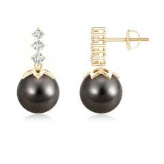 Solitaire Tahitian Cultured Pearl Dangling Earrings with Graduated Diamonds
