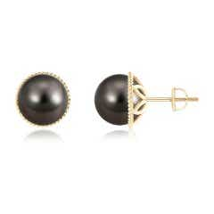 Twisted Rope Solitaire Tahitian Cultured Pearl Stud Earrings