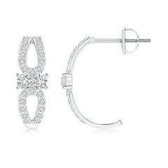 Open Pear Framed Two Stone Diamond J Hoop Earrings