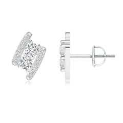 Angara Linear Double Diamond Loop Earrings with Prong Setting STkcO4Pw