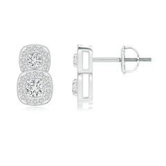 Milgrain-Edged Two Stone Diamond Halo Earrings