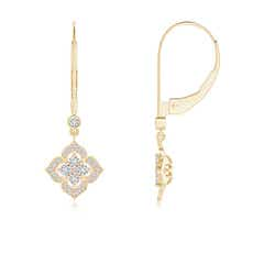 Diamond Clover Leverback Earrings