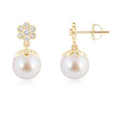 Angara Akoya Cultured Pearl Dangle Hoop Earrings with Diamonds
