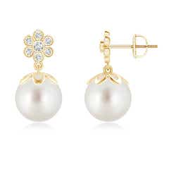 South Sea Cultured Pearl and Diamond Floral Drop Earrings