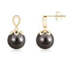 Angara 11mm Tahitian Black Pearl Earrings in Yellow Gold HyQUnNB