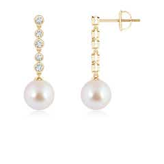 Angara Akoya Cultured Pearl Long Drop Earrings with Diamond