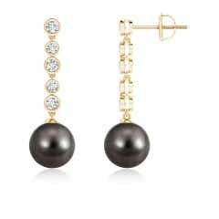 Tahitian Cultured Pearl Long Drop Earrings with Diamonds